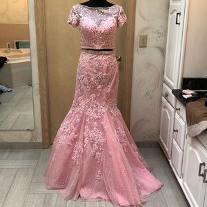 Two piece lace and tulle prom or wedding gown